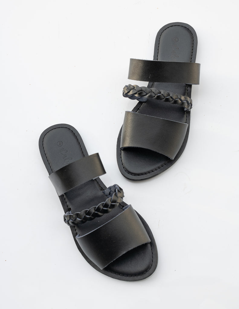 Black 'Salena' weave slide