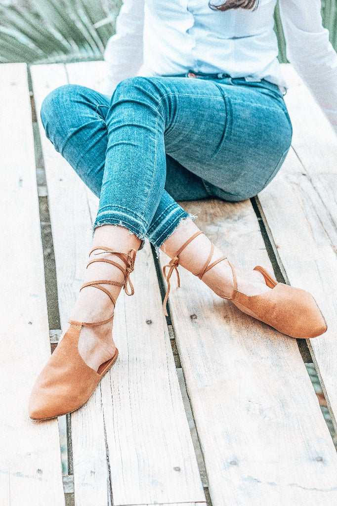 Tan 'Antigua' lace up mule
