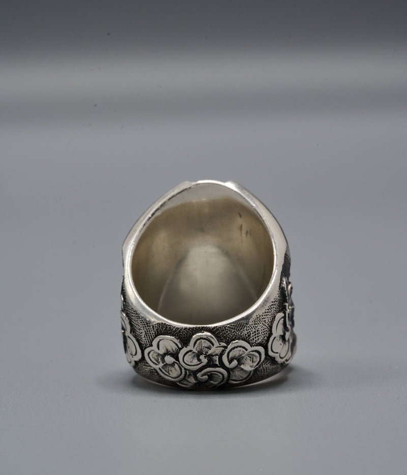 Zulu Shield Ring with Funtummireku-Denkyemmireku