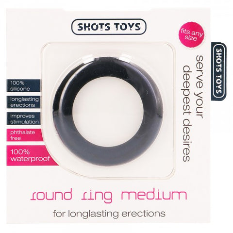Anel para o Pénis ROUND RING MEDIUM PRETO