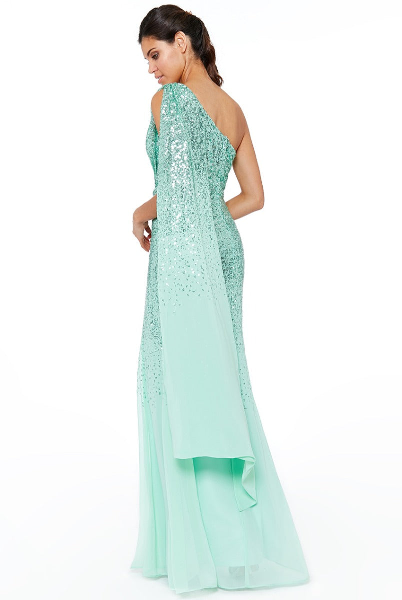 2c2f8234 One Shoulder Sequin & Chiffon Maxi Dress- Lavender – Tracey Jane Fashion