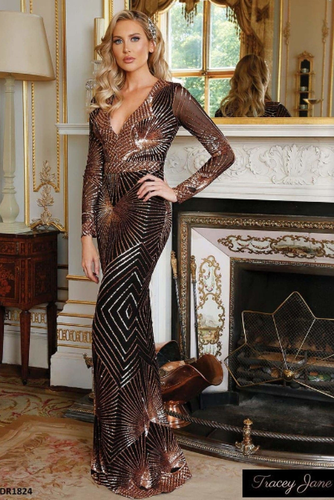 08fbfc62c0 Starburst Sequin Maxi Dress- Champagne – Tracey Jane Fashion