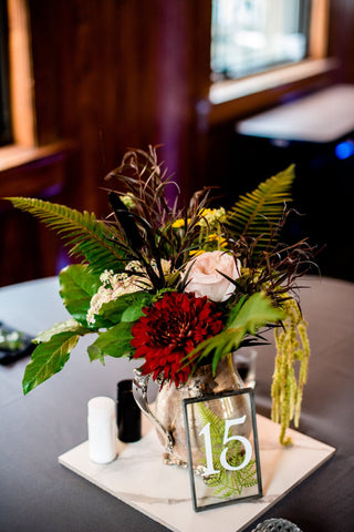moody and romantic flower arrangement