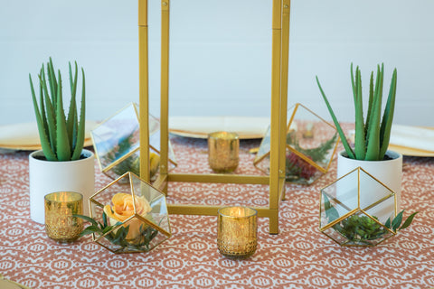 western wedding cacti and gold accents