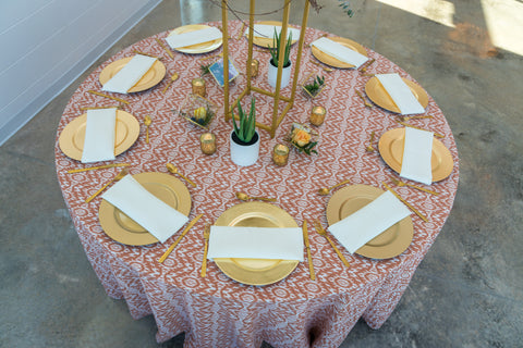 aztec tablecloth for western wedding gold accents