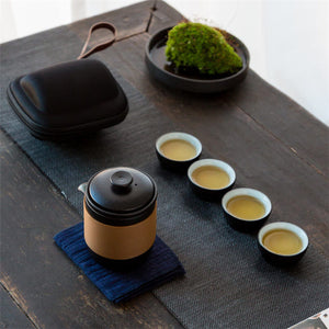 Black Pottery Chinese Tea Cups Set