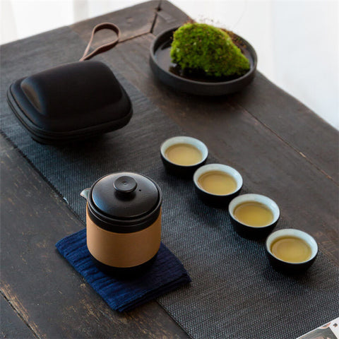 Image of Black Pottery Chinese Tea Cups Set