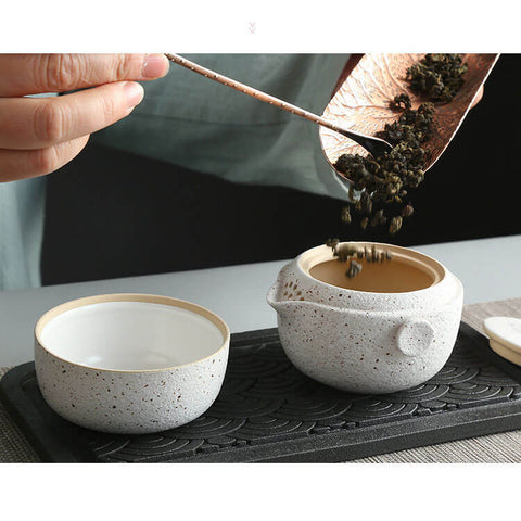 Image of Black Pottery Tea Set