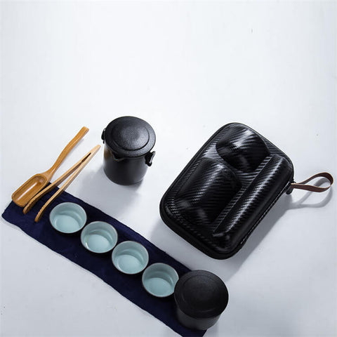 Image of Black Pottery Teapot Set