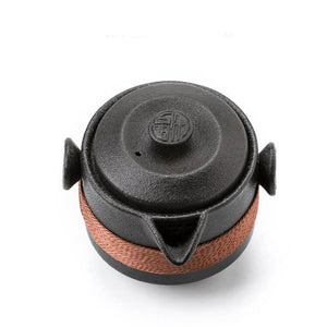 Black Pottery Travel Tea Set