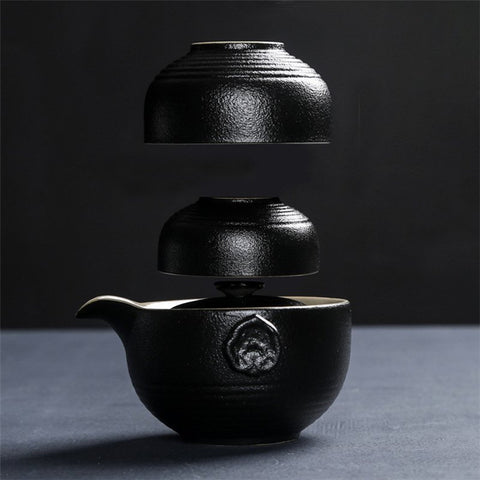 Image of Black Pottery Chinese Tea Set