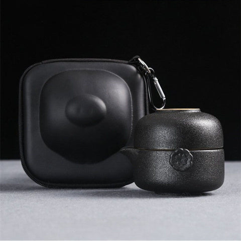 Image of Black Coarse Pottery Travel Tea Set