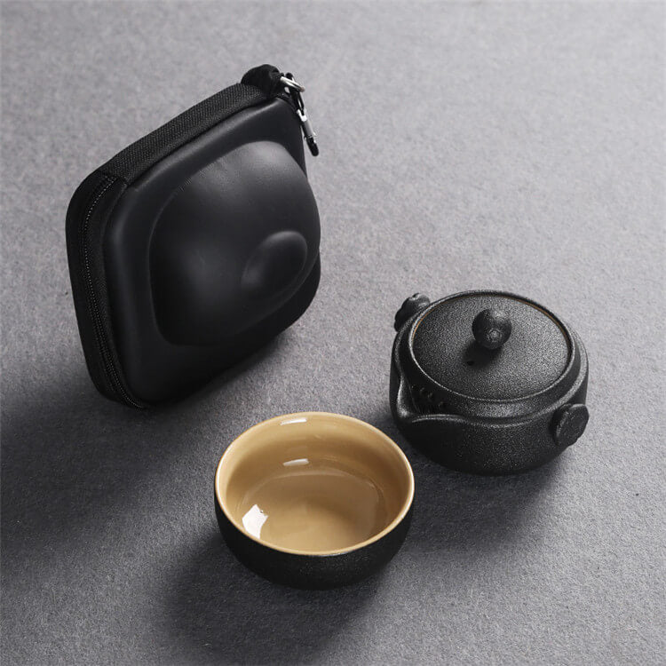 Black Coarse Pottery Travel Tea Set