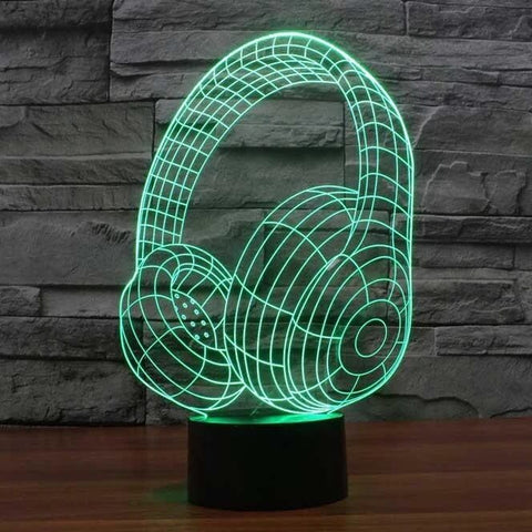 Image of Headphones 3D LED Illusion Lamp