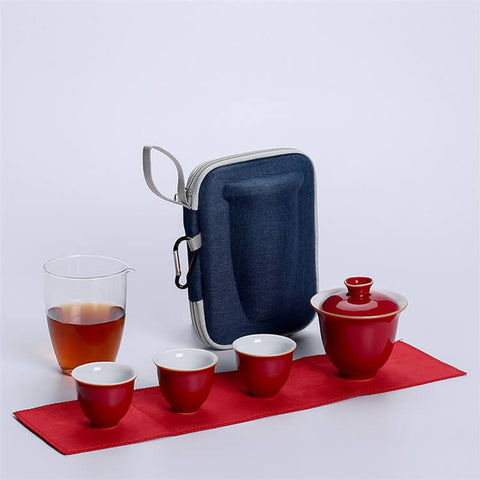 Image of White Porcelain Gaiwan Travel Tea Set