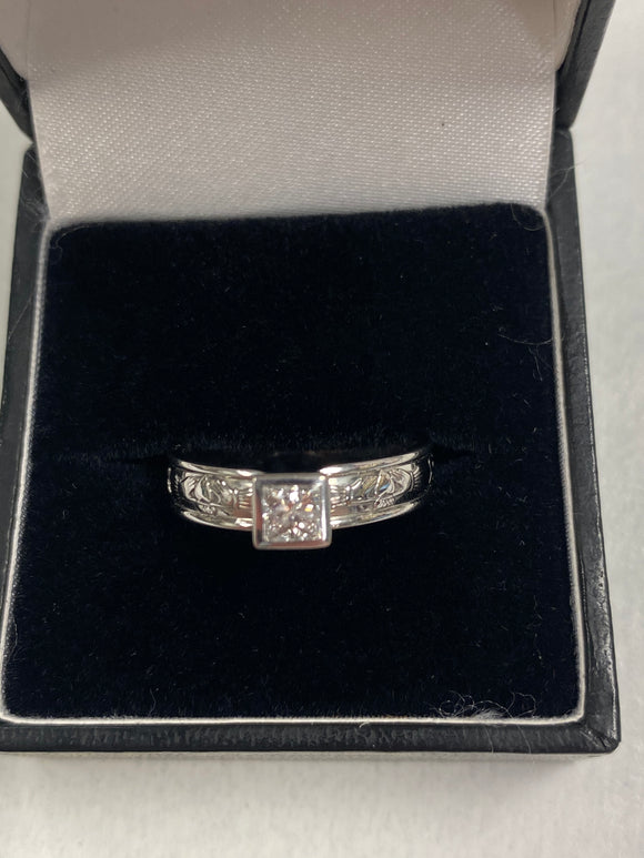 White Gold Engagement Ring with Real Diamond