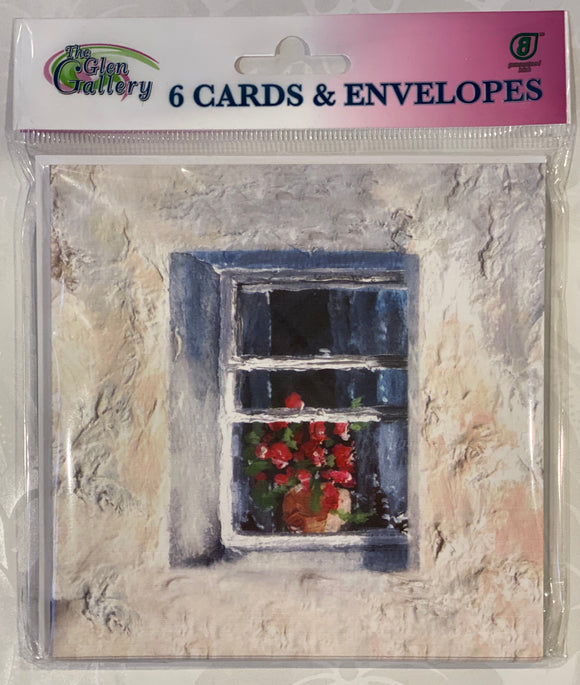 Flowers in the window Blank cards set of 6