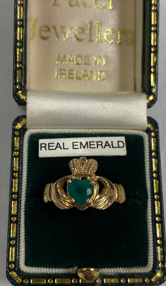 14k Gold Claddagh Ring with Real Emerald