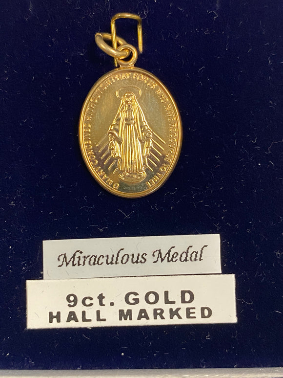 9K Gold Miraculous Medal Charm