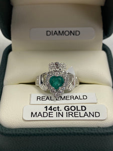 14K White Gold Real Emerald and Diamond Claddagh