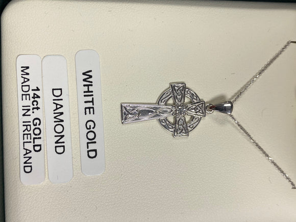 14K White Gold Celtic Cross with Real Diamond