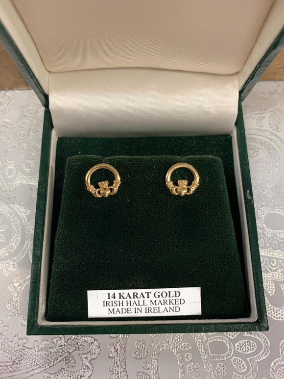 14K Gold Claddagh Earrings