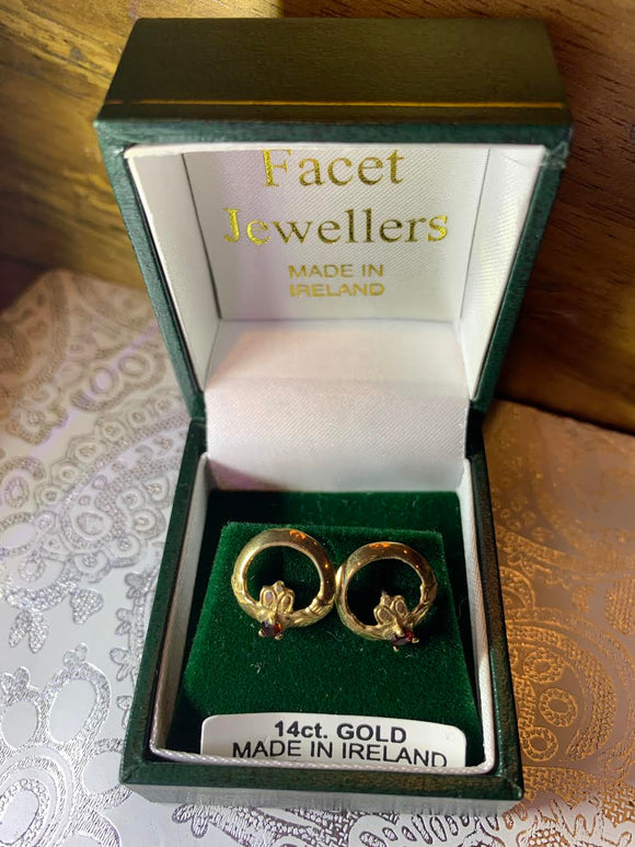 14k Gold Claddagh July Earrings