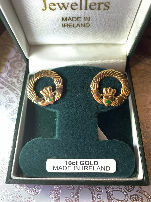10K Gold Claddagh Earrings with Green Stone