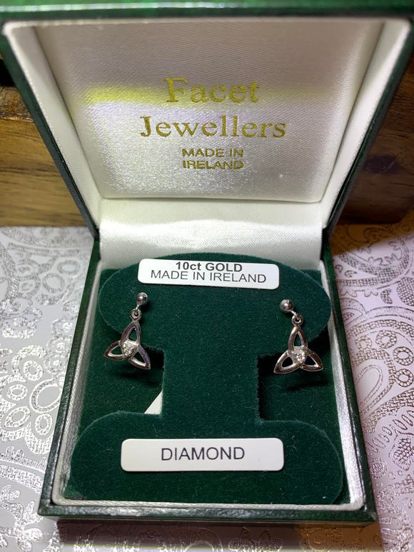 10K White Gold Trinity Earrings with Real Diamond