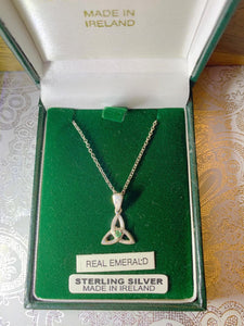 Sterling Silver Trinity Knot Necklace with Green Emerald