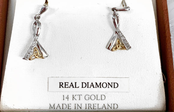 14K Gold Trinity Earrings with Real Diamonds