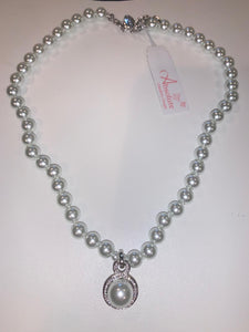 Pearl Necklace with Encrusted Crystals