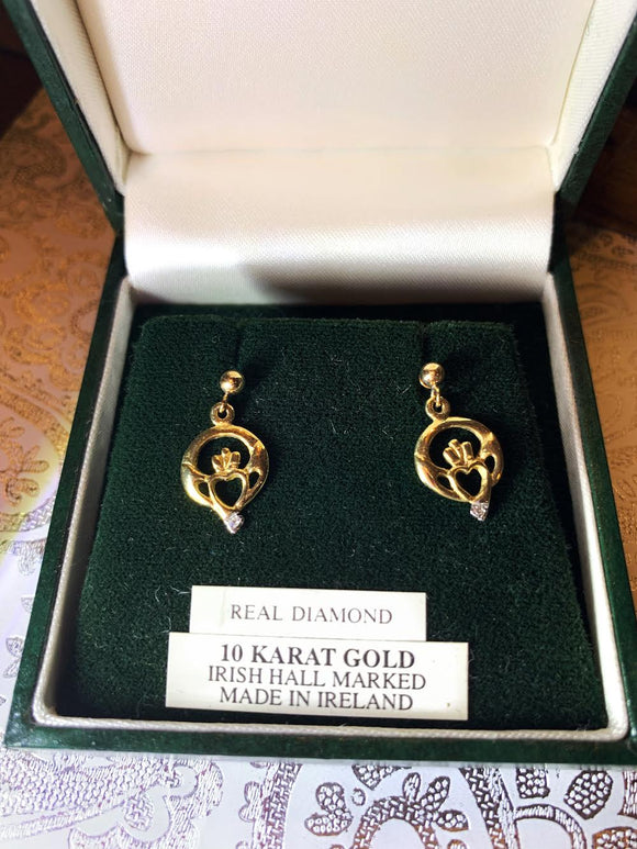 10K Gold Claddagh Earrings with Real Diamond