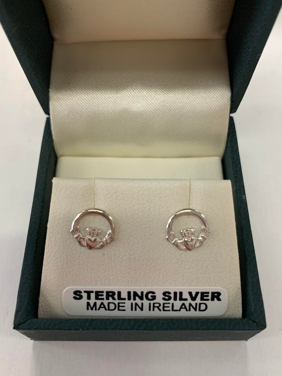 Small Children's Silver Claddagh Earrings