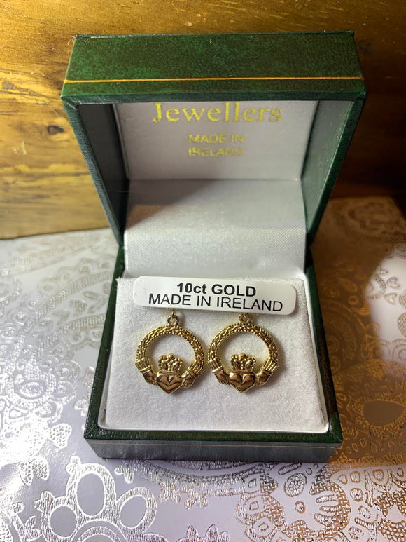 10K Gold Claddagh Earrings