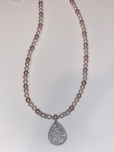 Pearl Necklace with Encrusted Crystal