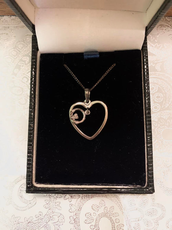 Sterling Silver Heart and Claddagh Necklace