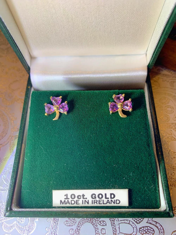 10K Gold Shamrock Earrings with February Birthstone
