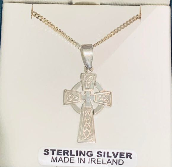 Silver Celtic Cross with Trinity Designs