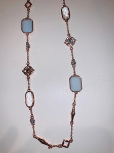 Rose Necklace with Light Blue Stones and Encrusted Crystals
