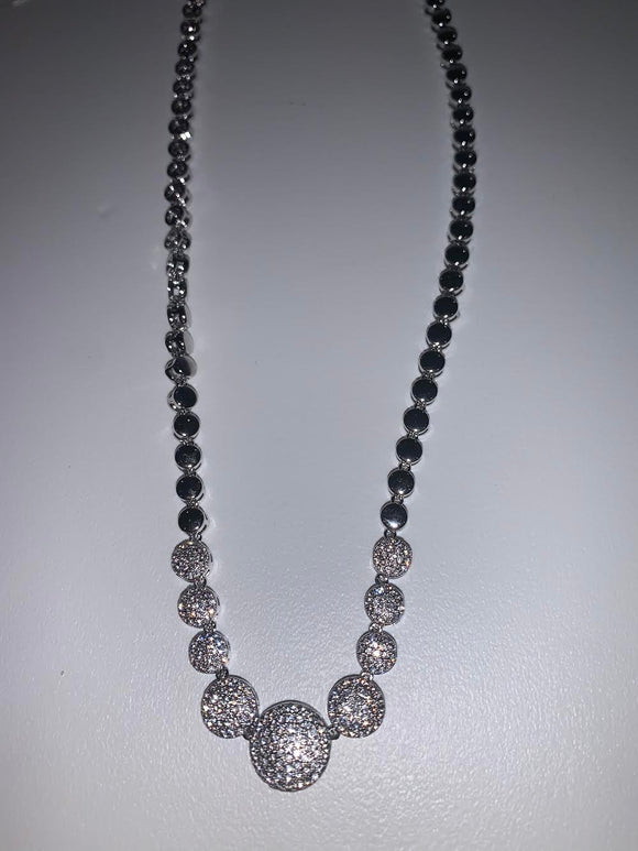 Round Silver Necklace with Assorted Crystals