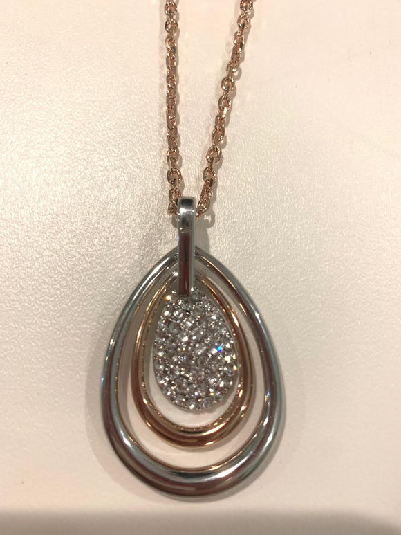 Two-Toned Necklace with Rose Gold and Silver with Encrusted Crystals