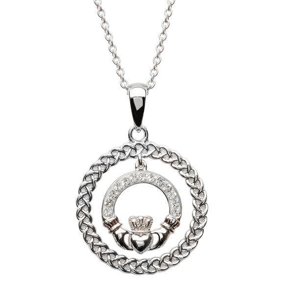 SILVER CELTIC CLADDAGH NECKLACE ENCRUSTED WITH SWAROVSKI CRYSTALS C876
