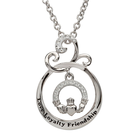 Love Loyalty Friendship Claddagh Pendant Encrusted With Swarovski Crystal HClad2