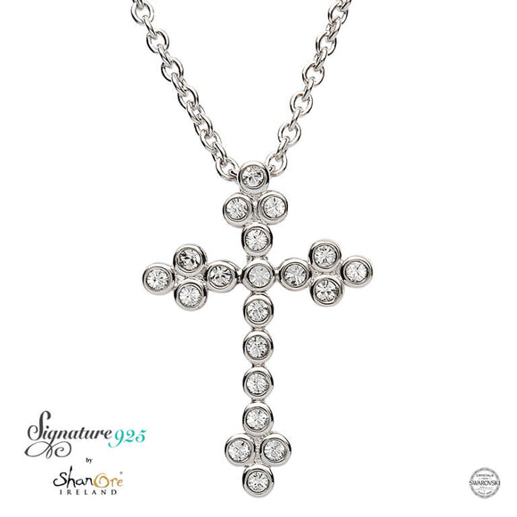 Silver Cross Adorned With Swarovski Crystal
