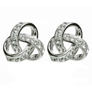 Silver Trinity Knot Earrings Encrusted With White Swarovski Crystal