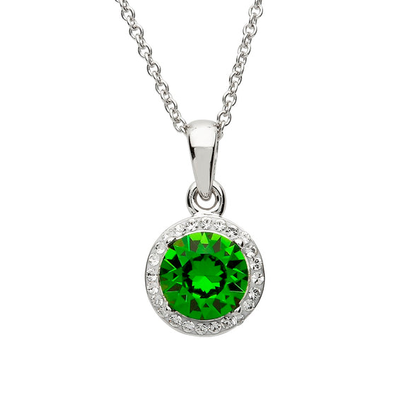Silver Round Halo Pendant Encrusted With Emerald & White Swarovski Crystals