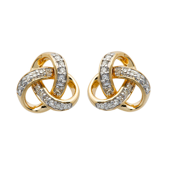 14K Gold Diamond Set Trinity Knot Stud Earrings