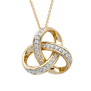 14K Diamond set Trinity Necklace .25ct