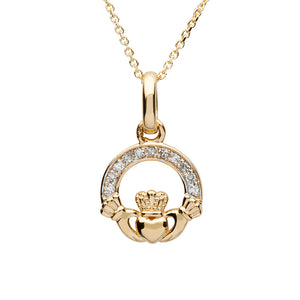 14K Yellow Gold Small Claddagh Pendant with Pave Set Diamonds